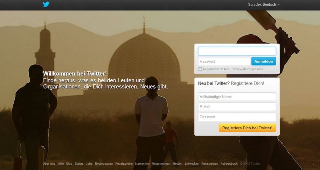 Twitter Account anlegen - die Twitter Webseite